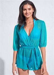 Cropped front view Sports Illustrated Swim™ Wrap Romper Cover-Up