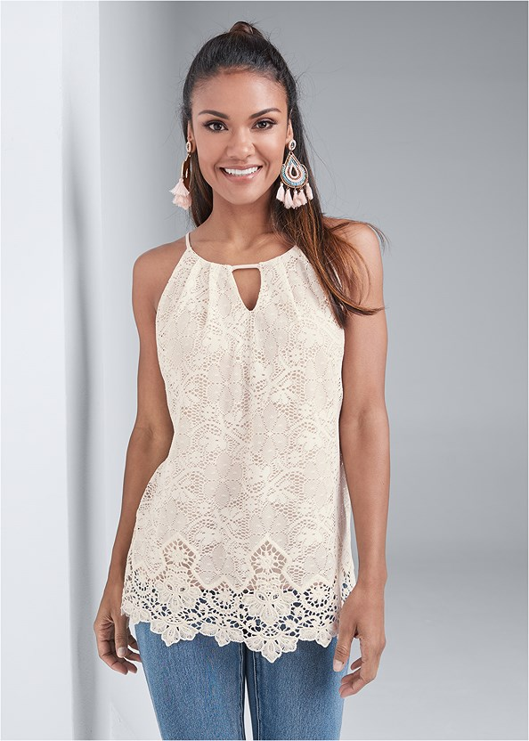 Lace Sleeveless Top,Bum Lifter Jeans,Strapless Bra With Geo Lace,Embellished Sandals,Beaded Fringe Earrings