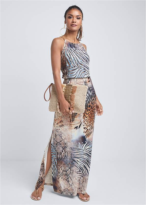 Full front view Chain Strap Maxi Dress