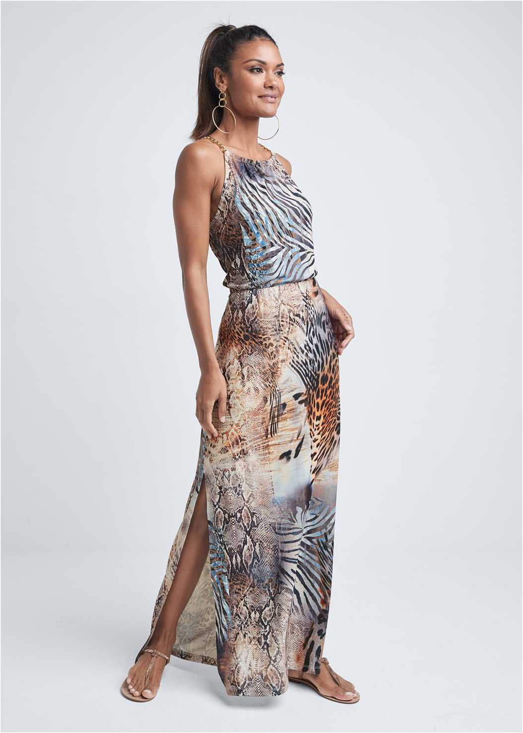 Chain Strap Maxi Dress,Embellished Tassel Clutch