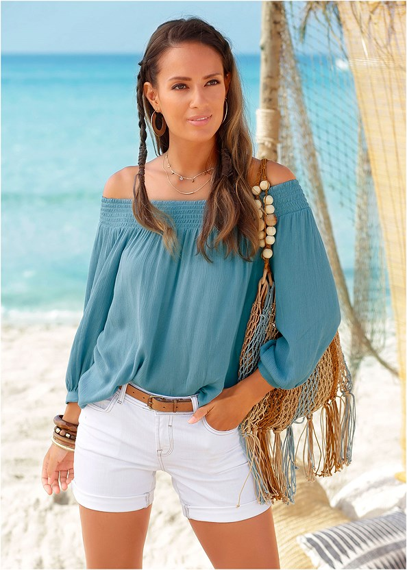 Off The Shoulder Top,Frayed Cut Off Jean Shorts,Rhinestone Thong Sandal,Beaded Fringe Medallion Earrings,Stars Stones Layered Necklace