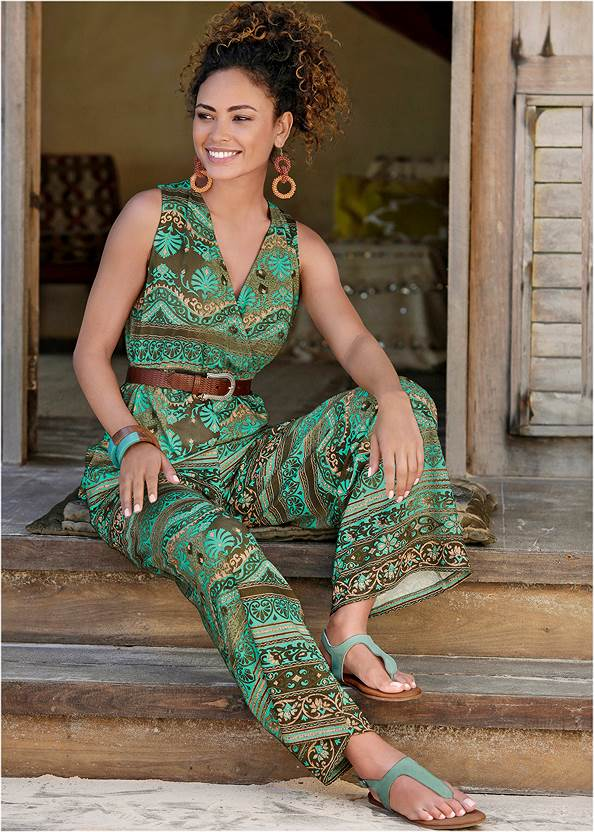 Printed Jumpsuit,Boho Stone Ankle Strap Sandal,Turquoise Buckle Belt,Beaded Rattan Hoop Earrings,Straw Belt Bag