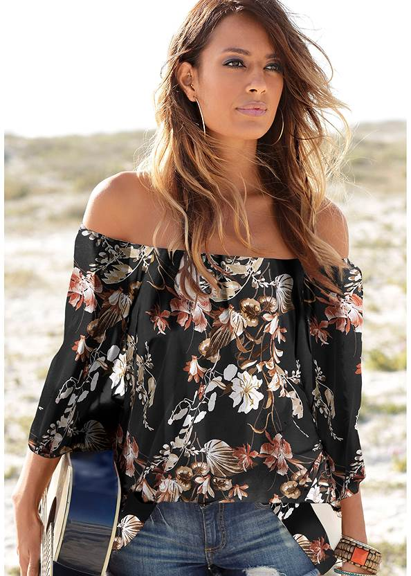 Off Shoulder Floral Top,Ripped Capri Jeans,Ripped Cropped Jeans,Pearl™ By Venus Strapless Bra,High Heel Strappy Sandals,Double Strap Cork Wedge,Circle Basket Wooden Bag