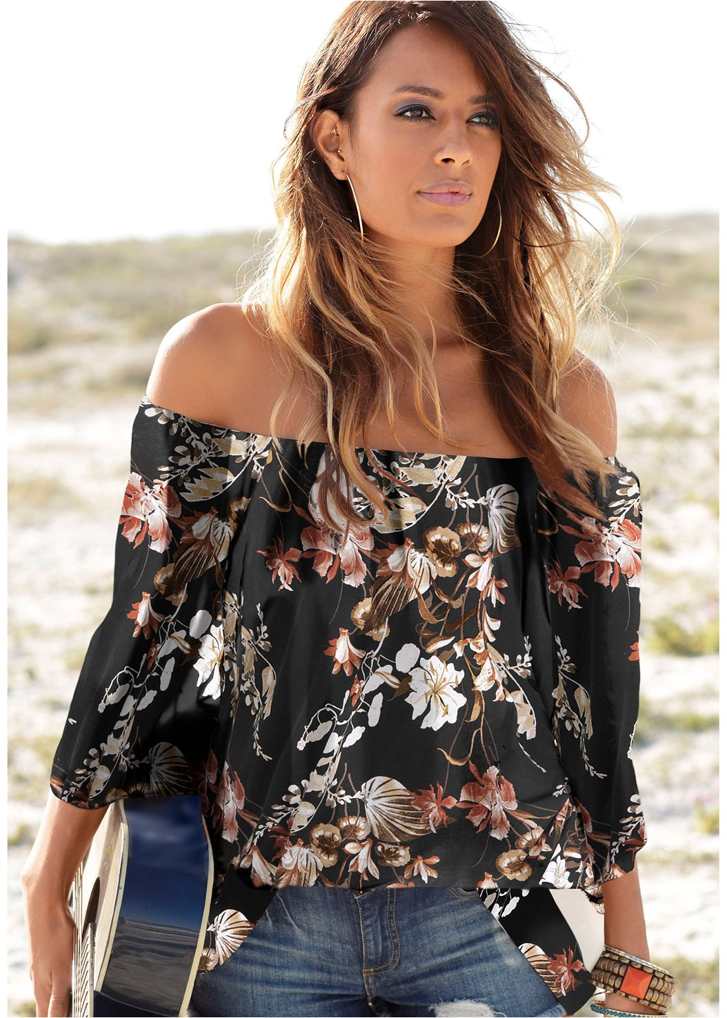 Off Shoulder Floral Top,Ripped Capri Jeans,Strapless Bra,Double Strap Cork Wedge,Beaded Dreamcatcher Earring
