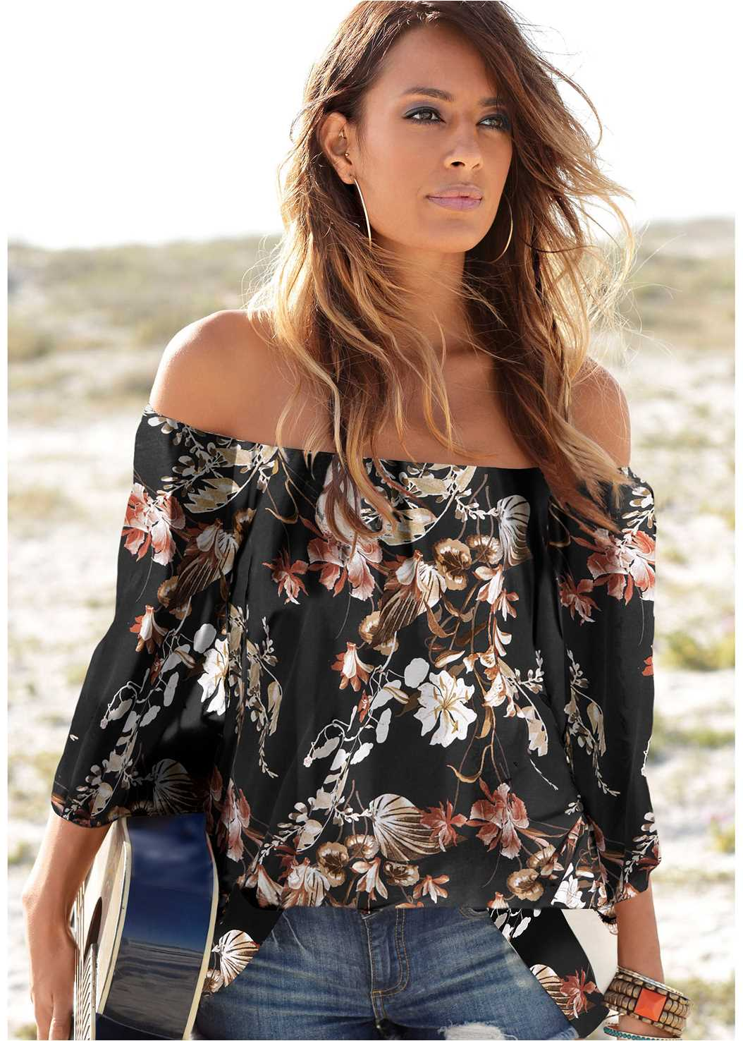 Off Shoulder Floral Top,Ripped Capri Jeans,Double Strap Cork Wedge,Beaded Dreamcatcher Earrings
