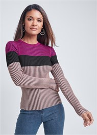 Cropped front view Color Block Ribbed Sweater