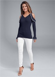 Full front view Cold Shoulder Sweater