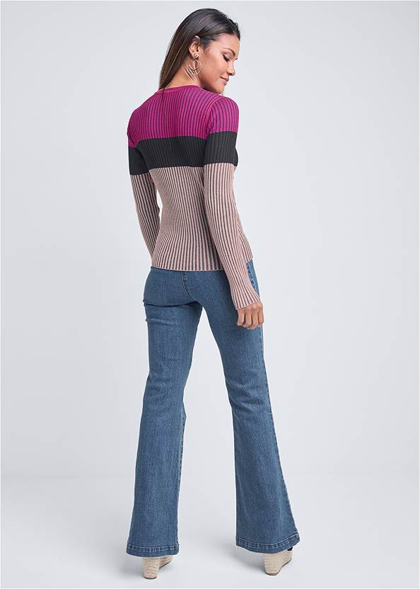 Full back view Color Block Ribbed Sweater