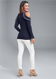 Full back view Cold Shoulder Sweater