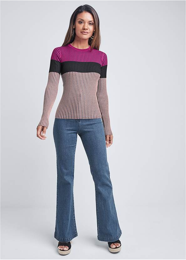 Full front view Color Block Ribbed Sweater