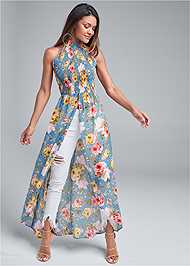 Front View Smocked Floral Maxi Top