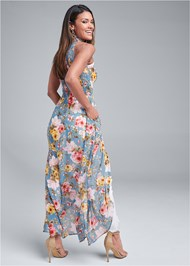 Back View Smocked Floral Maxi Top