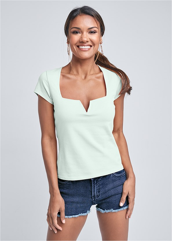 Square Neck V-Wire Top,Frayed Cut Off Jean Shorts,Beaded Hoop Earrings,Embellished Wedge