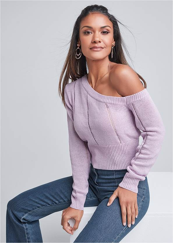 One Shoulder Sweater,Casual Bootcut Jeans