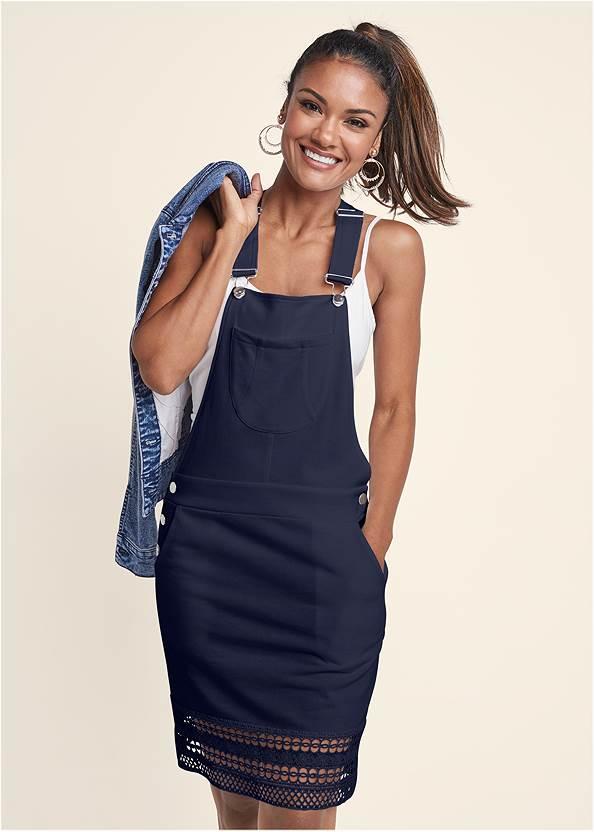 Crochet Overall Lounge Dress,Basic Cami Two Pack,Jean Jacket,Tassel Hoop Earrings,Rhinestone Thong Sandals,Paisley Denim Weekender Bag