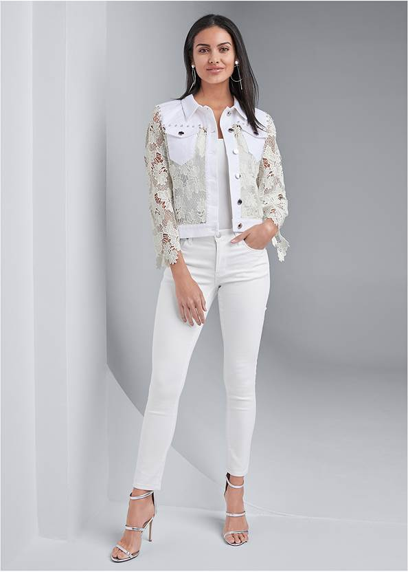 Full front view Denim Lace Sleeve Jacket