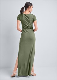 Full back view Utility Lace Up Maxi Dress