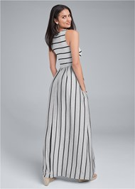 Back View Stripe Maxi Dress