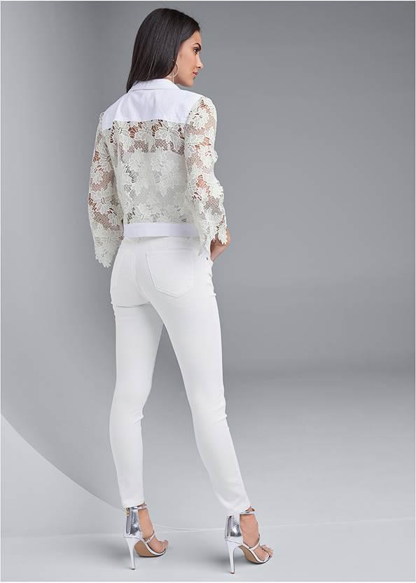 Full back view Denim Lace Sleeve Jacket