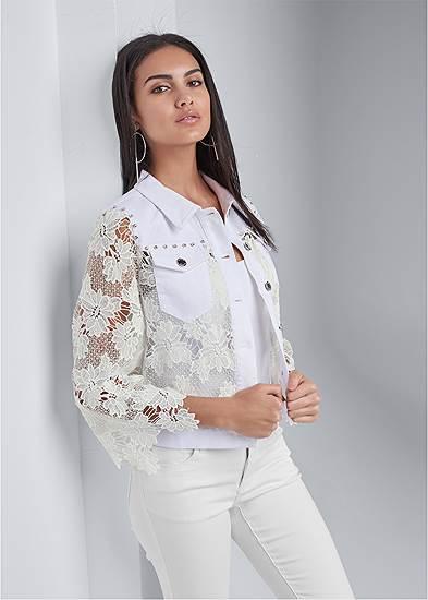 Denim Lace Sleeve Jacket