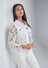 Cropped front view Denim Lace Sleeve Jacket