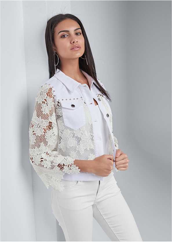 Denim Lace Sleeve Jacket,Basic Cami Two Pack,Bum Lifter Jeans,High Heel Strappy Sandals,Ring Handle Circle Clutch
