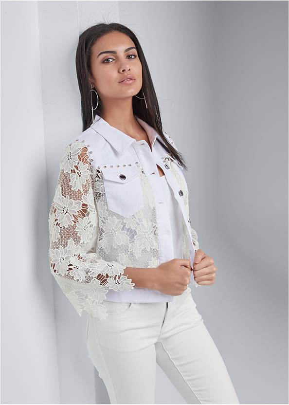 Denim Lace Sleeve Jacket,Basic Cami Two Pack,Bum Lifter Jeans