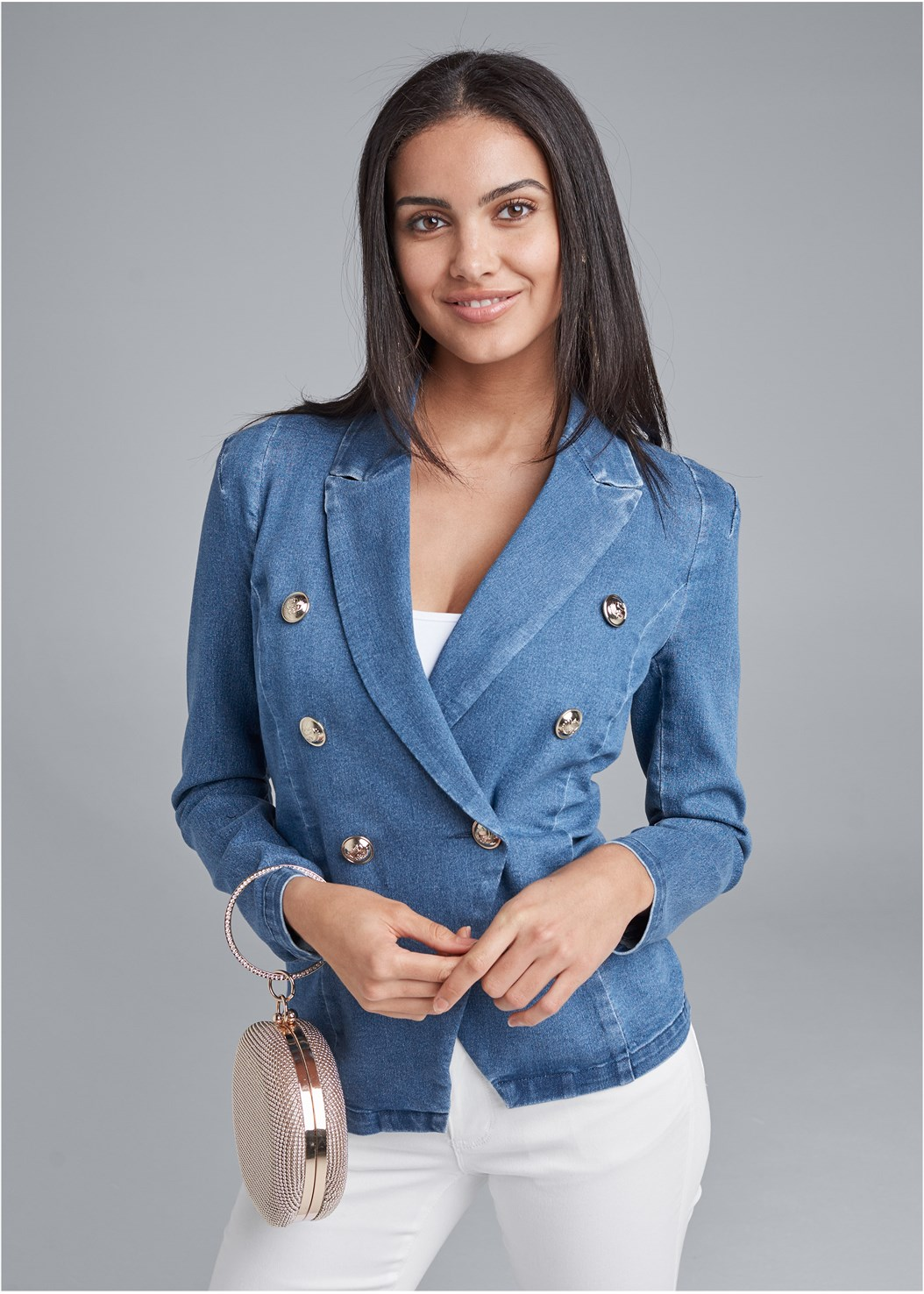 Denim Blazer,Basic Cami Two Pack,Jean Bermuda Shorts,Bum Lifter Jeans,Multi Strap Ankle Wrap Heel,High Heel Strappy Sandals,Two-Tone Crossbody Bag,Ring Handle Circle Clutch
