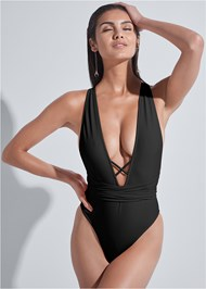 Cropped front view Sports Illustrated Swim™ Brazilian Wrap One-Piece