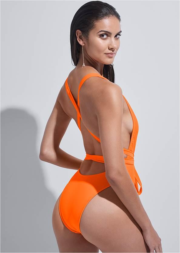 Back View Sports Illustrated Swim™ Brazilian Wrap One-Piece