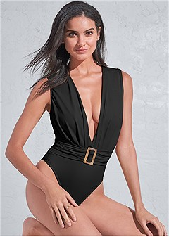 plus size sports illustrated swim™ plunging belted one-piece