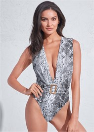 Front View Sports Illustrated Swim™ Plunging Belted One-Piece
