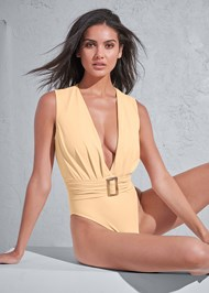 Cropped front view Sports Illustrated Swim™ Plunging Belted One-Piece