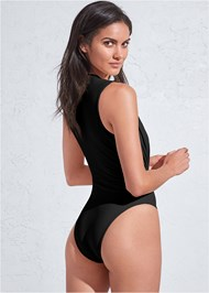 Cropped back view Sports Illustrated Swim™ Plunging Belted One-Piece