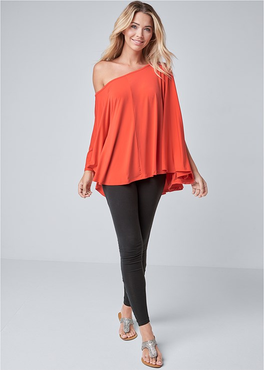 ASYMMETRICAL TOP,ANKLE DETAIL LEGGINGS