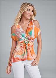 Front View Embellished Tie Dye Top