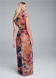 Full back view Ruched Tie Dye Maxi Dress