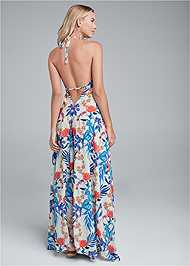Full back view Low Back Printed Maxi Dress