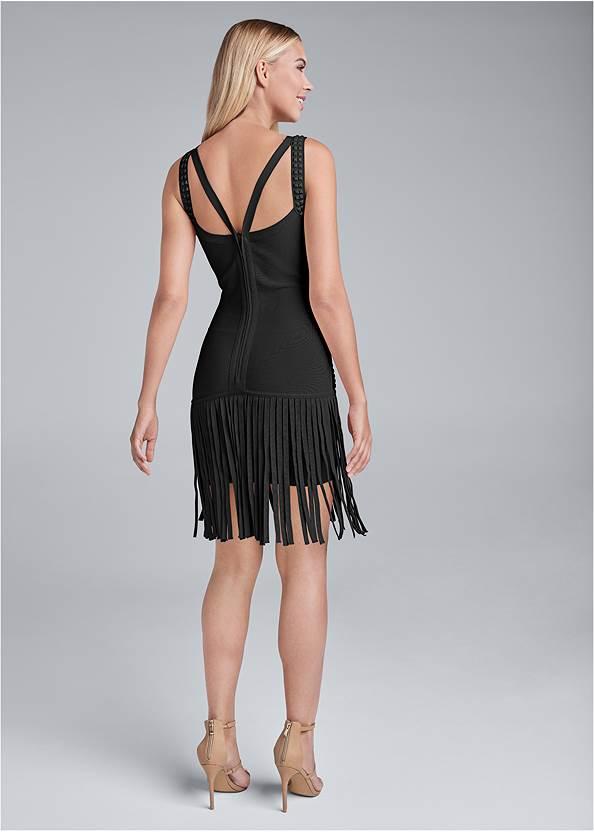 Full back view Fringe Bandage Dress