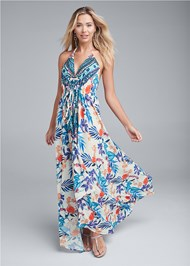Full front view Low Back Printed Maxi Dress