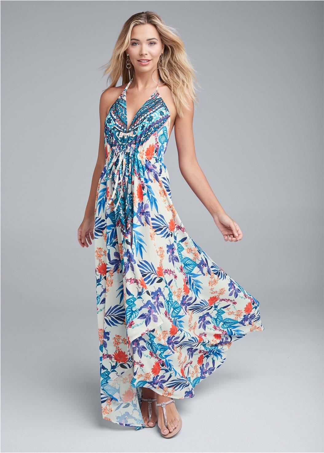 Low Back Printed Maxi Dress,Rhinestone Thong Sandal
