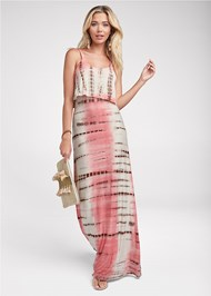 Full front view Overlay Tie Dye Maxi Dress