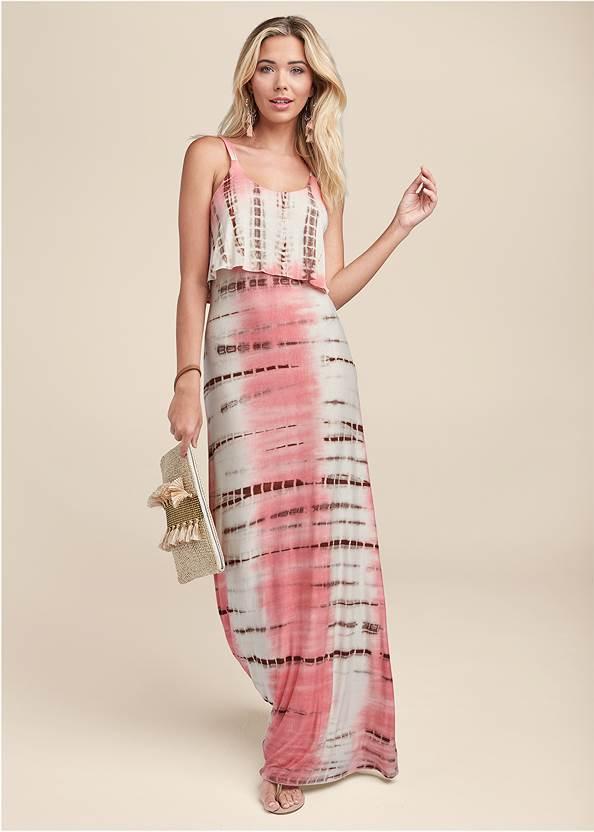 Overlay Tie Dye Maxi Dress,Rhinestone Thong Sandals,Embellished Tassel Earrings,Circle Basket Wooden Bag
