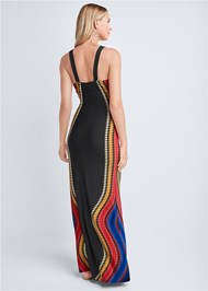 Full back view Embellished Neck Print Dress