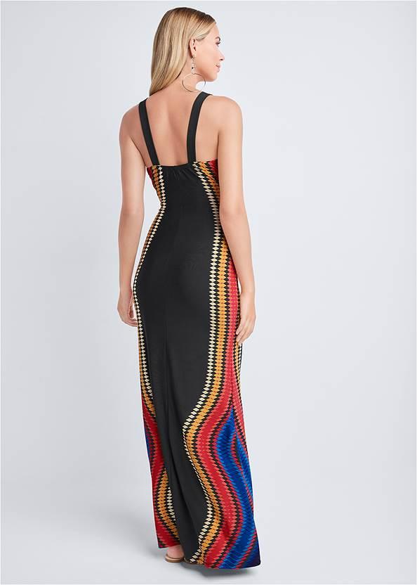 Full back view Embellished Neck Print Dress