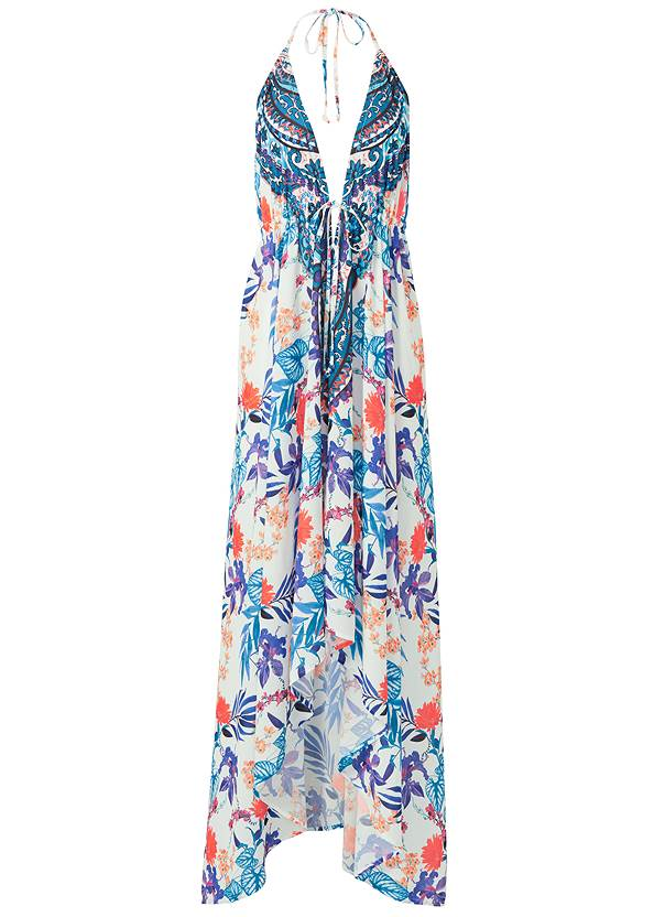 Ghost with background  view Low Back Printed Maxi Dress