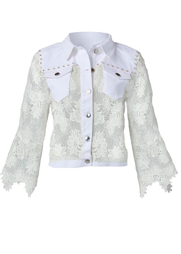 Ghost with background  view Denim Lace Sleeve Jacket