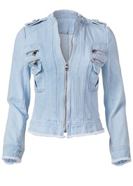 Ghost with background  view Cropped Denim Moto Jacket