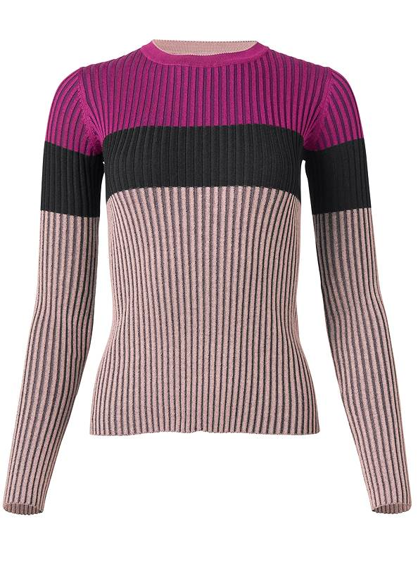 Ghost with background  view Color Block Ribbed Sweater