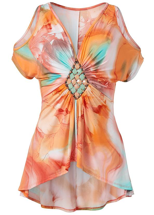 Ghost with background  view Embellished Tie Dye Top
